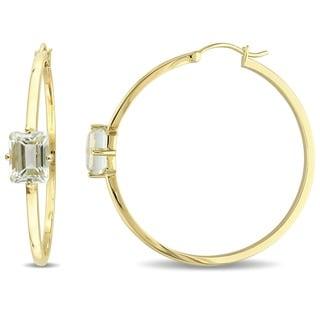 Miadora 18k Yellow Gold Plated Sterling Silver Emerald-Cut Green Amethyst Slender Hoop Earrings