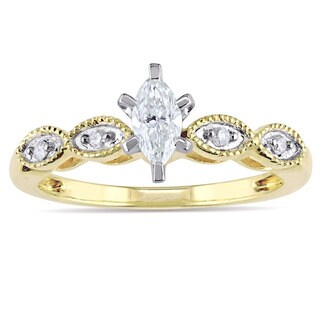 Miadora Signature Collection 10k Yellow Gold 1/4ct TDW Marquise and Round-Cut Diamond Infinity Engagement Ring