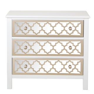 White Wood Drawer Chest with Mirrored Drawer Fronts