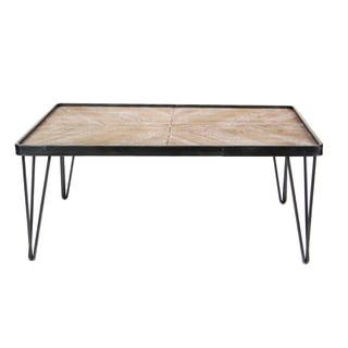 Benzara Brown Wood Iron Rectangular Coffee Table