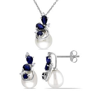 Miadora Signature Collection 10k White Gold Freshwater Pearl Sapphire and 1/10ct TDW Diamond Earrings and Necklace Set|https://ak1.ostkcdn.com/images/products/15340404/P21803447.jpg?impolicy=medium