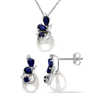 Miadora Signature Collection 10k White Gold Freshwater Pearl Sapphire and 1/10ct TDW Diamond Earrings and Necklace Set