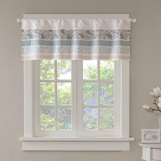 Madison Park Vanessa Blue Printed and Pieced Rod Pocket Cotton Valance