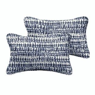 Porter Indigo and Navy Graphic Indoor/ Outdoor 13 x 20-inch Corded Pillow Set