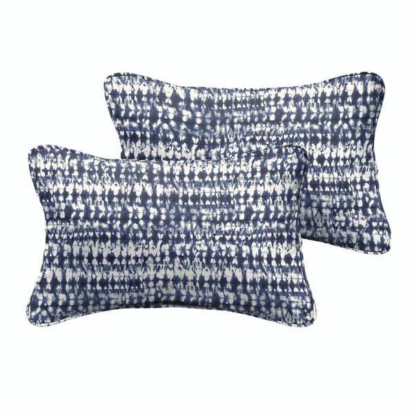 Porter Indigo and Navy Graphic Indoor/ Outdoor 13 x 20-inch Corded Pillow Set