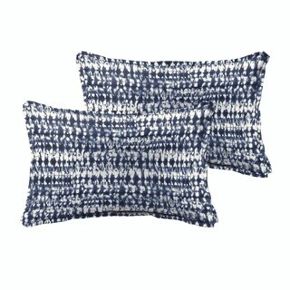 Porter Graphic Indigo and Navy Indoor/ Outdoor 13 x 20 Inch Flange Pillow Set