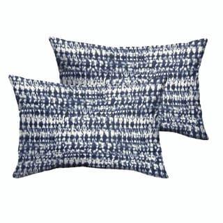 Porter Indigo and Navy Graphic Indoor/ Outdoor 13 x 20-inch Knife Edge Pillow Set