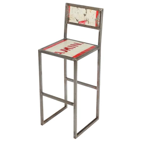 Handmade Refinery Recycled Metal & Iron Counter Stool (Indonesia)