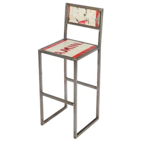 Handmade Refinery Recycled Metal and Iron Counter Stool (Indonesia)