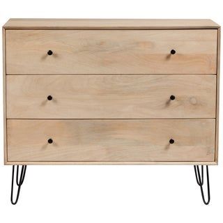Handmade Wanderloot Graphik Mango Wood 3 Drawer Dresser With Hairpin Legs (India)