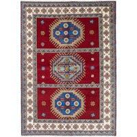 ecarpetgallery Hand-Knotted Royal Kazak Blue, Red  Wool Rug (5'7 x 7'11)
