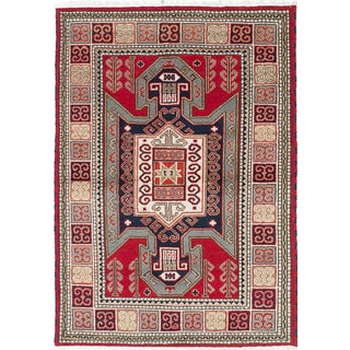 ecarpetgallery Hand-Knotted Royal Kazak Blue, Red  Wool Rug (4'2 x 5'9)