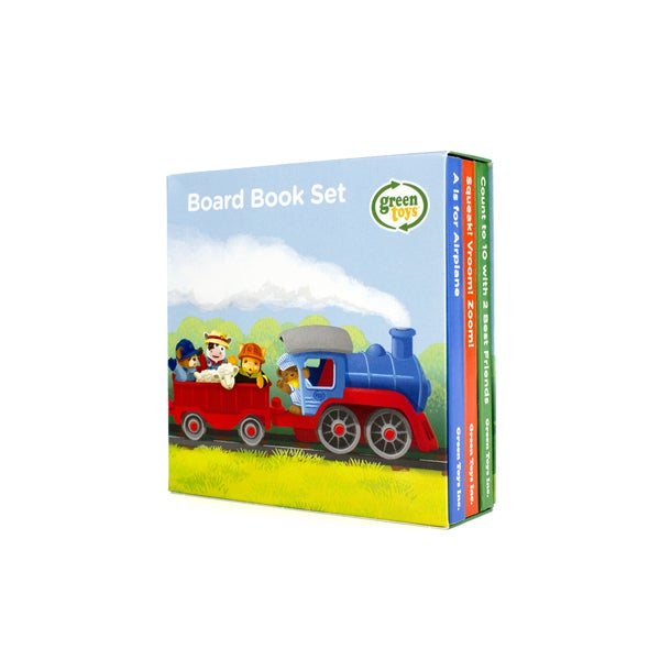 Green Toys Board Book 3-Packs; Counting, Sounds, ABCs