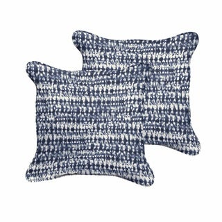 Havenside Home Ruddock Indigo and Navy Graphic Indoor/ Outdoor Corded Square Pillow Set