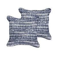The Curated Nomad Claremont Indigo and Navy Graphic Indoor/ Outdoor Corded Square Pillow Set