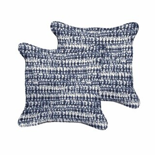 The Curated Nomad Claremont Indigo and Navy Graphic Indoor/ Outdoor Corded Square Pillow Set (3 options available)