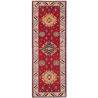 ecarpetgallery Hand-Knotted Royal Kazak Ivory, Red  Wool Rug (2'11 x 8'0)