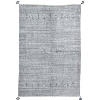 ecarpetgallery Hand-Knotted Luribaft Gabbeh Riz Grey  Wool Rug (6'1 x 9'2)