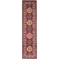 ecarpetgallery Hand-Knotted Finest Gazni Ivory, Red  Wool Rug (2'3 x 9'5)
