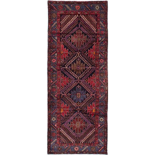 ecarpetgallery Hand-Knotted Koliai Blue, Red  Wool Rug (3'10 x 10'2)