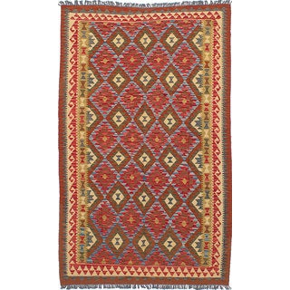 ecarpetgallery Hand woven Hereke Kilim Red, Yellow  Wool Kilim (5'1 x 8'0)
