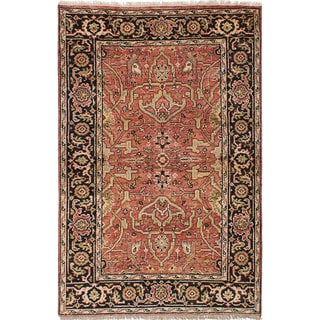 ecarpetgallery Hand-Knotted Serapi Heritage Brown  Wool Rug (4'1 x 6'2)