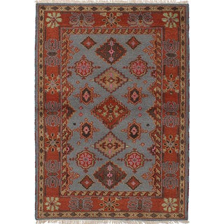 ecarpetgallery Hand-Knotted Royal Kazak Blue  Wool Rug (4'2 x 5'11)