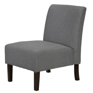 Cortesi Home Chicco Grey Wood/Fabric/Linen Armless Accent Chair