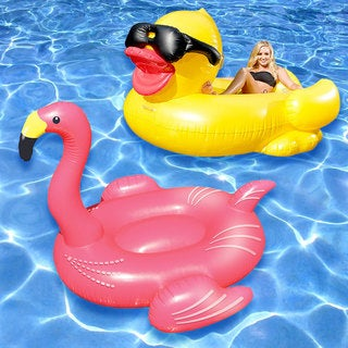 Flamingo and Derby Duck Swimming Pool Float 2-Pack