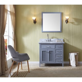 Ariel Kensington Grey 37-inch Left-offset Single-sink Vanity Set