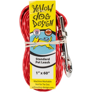 Yellow Dog Lead - New Red Polka Dot