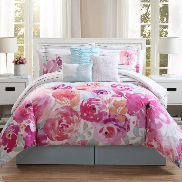 Shop Summerville Floral 7-piece Comforter Set - Free Shipping Today ...