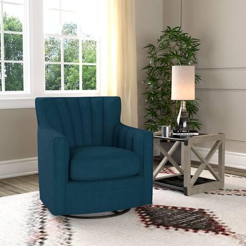 Copper Grove Hasselt Peacock Blue Linen Swivel Arm Chair