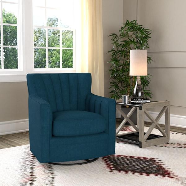 Handy Living Zahara Peacock Blue Linen Swivel Arm Chair