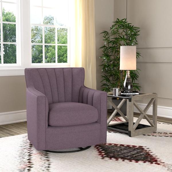 Handy Living Zahara Amethyst Purple Linen Swivel Arm Chair