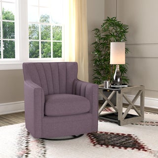 Handy Living Zahara Amethyst Purple Linen Swivel Arm Chair