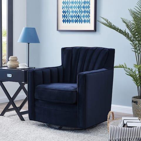 Copper Grove Hasselt Velvet Swivel Arm Chair
