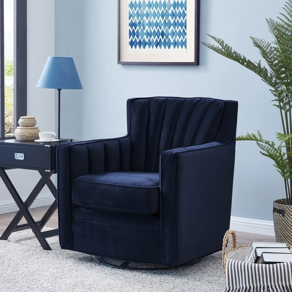 Shop handy living zahara navy blue velvet swivel arm chair on sale free shipping today for Swivel chairs living room sale