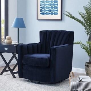 handy living zahara navy blue velvet swivel arm chair