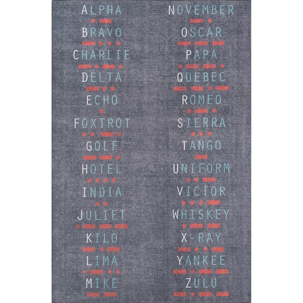 "Novogratz by Momeni District Charcoal Morse Code Rug (7'6"" x 9'6"") - 7'6"" x 9'6"""