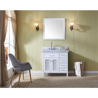 Ariel Kensington White Wood 37-inch Left-offset Single-sink Vanity Set