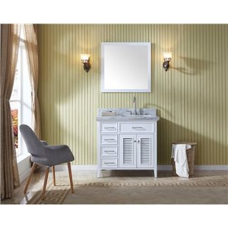 Ariel Bath Kensington White Wood 37-inch Single-sink Vanity Set