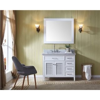 Ariel Kensington White Left Offset 43-inch Single Sink Vanity Set