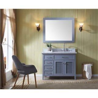 Shop Ariel Kensington Grey Wood Marble Top 43-inch Right ...