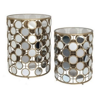 Three Hands Set Of Two Mirrored Accent Table