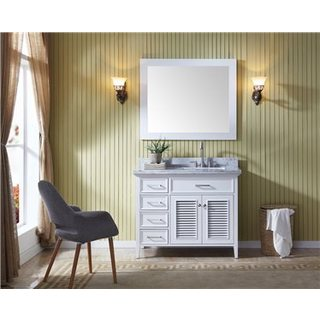 Ariel Kensington Right Offset White Birchwood/Marble Single Sink Vanity Set