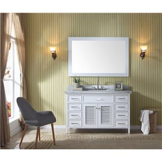 Ariel Kensington White Birchwood/Marble/Glass Single Sink Vanity