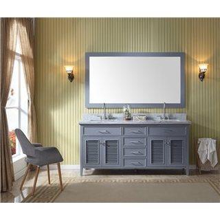 Ariel Kensington Grey II Wood 73-inch Double-sink Vanity and Mirror Set