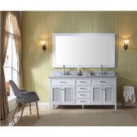 Ariel Kensington White Wood 73-inch Double-sink Vanity Set with Mirror