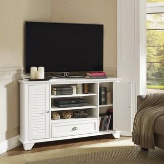 """Palmetto 50"""" Corner TV Stand in White"""
